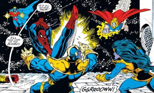 Spider-Man fights Thanos