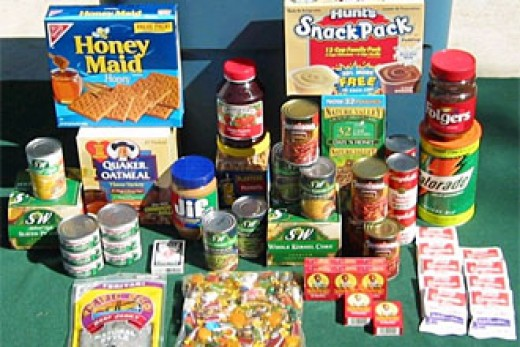 Types of consumption-ready foods that should make up stored emergency food supplies, as they tend to have extended shelf lives