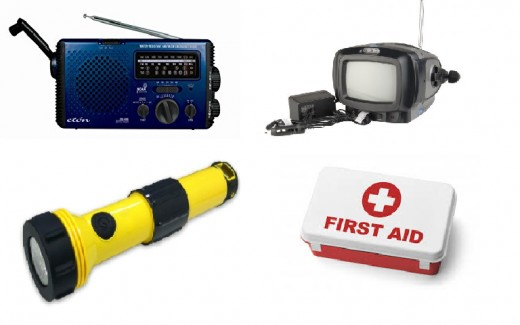 Assorted emergency supplies that might come in handy during a blizzard