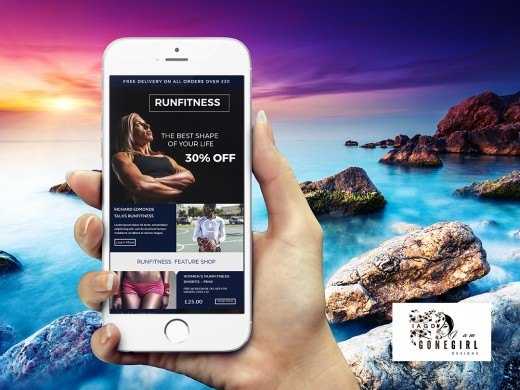 Example of a photoshop email newsletter template in phone
