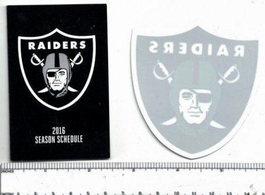 The Oakland Raiders sent a 2016 game schedule, a window sticker, and an eye patch!