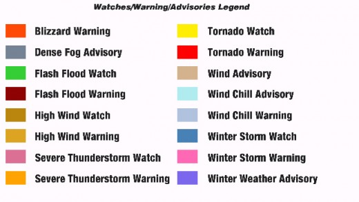 The various different types of weather watches and warnings used at the NWS website
