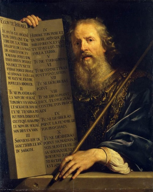 Moses with the Ten Commandments. Painting by Philippe de Champaigne