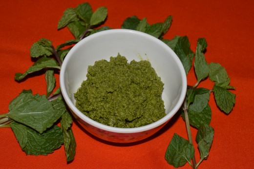Mint leaves chutney(spicy) made using lots of green chilies.