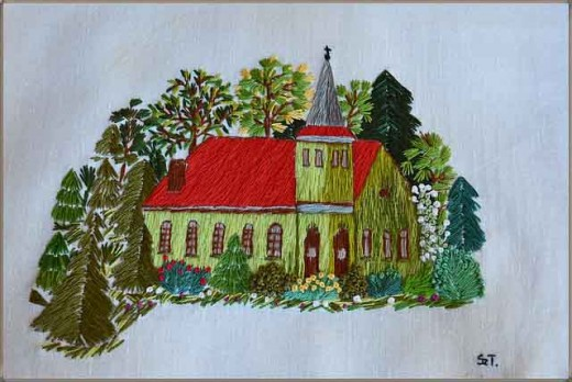 Embroidery art work created with floss and a needle.