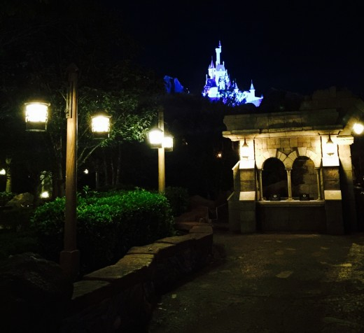Be Our Guest castle and restaurant from check-in booth