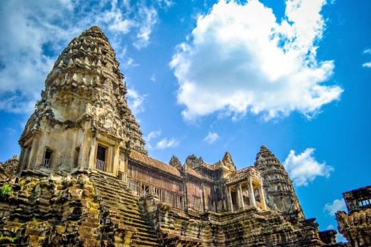 Angkor Wat was designed to resemble the Hindu Holy Mountain of Meru. Its many canals and moats represent the boundless ocean surrounding Mount Meru.