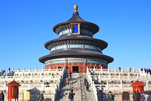 The splendid Temple of Heaven stands on three terraces of marble, each representing heaven, earth, and mankind.