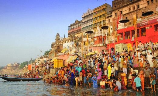 The steps leading into the Ganges are known as ghats. Varanasi has over eighty such embankments.