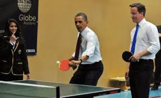 Ping pong diplomacy - Obama and Cameron playing table tennis