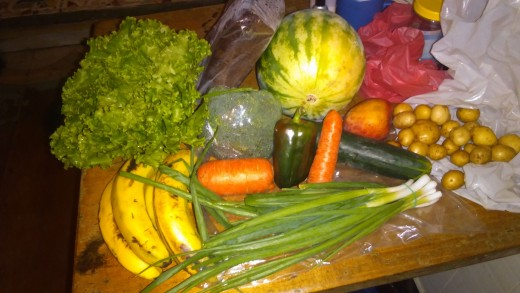 I buy fresh, organic produce at the local feria, or farmers market, opened all year round.