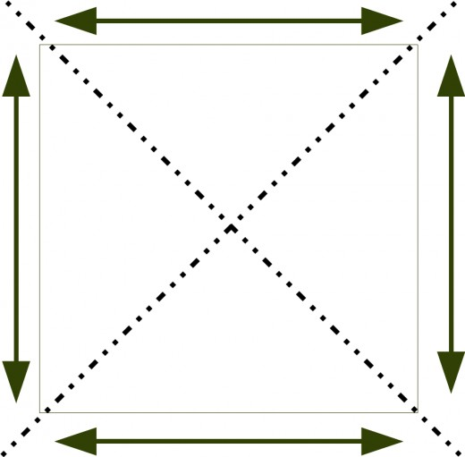 Cut square of fabric with an X