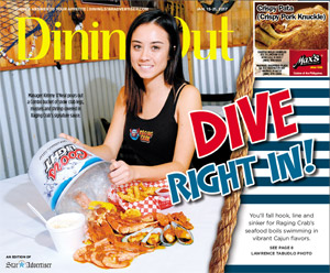 Dinning Out is a separate insert in Sunday's Honolulu Star Advertiser Newspaper. This front page of Dinning Out is from Jan. 15, 2017 issue.