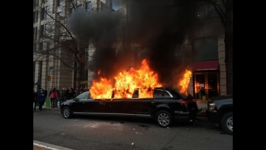 Inaugural riots destroy shops and vehicles.