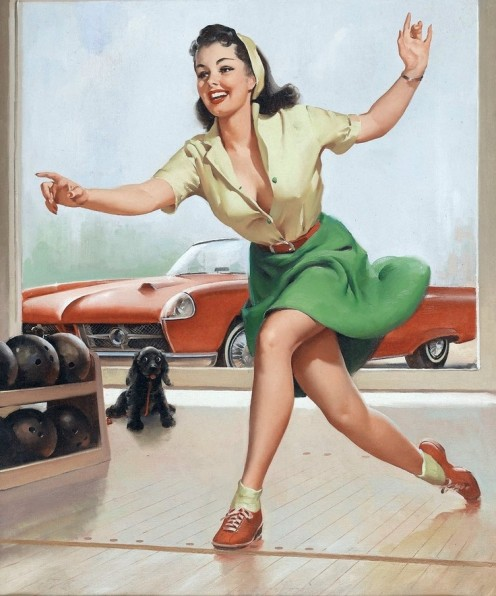 Bowling was once so popular, pin-up posters such as this one were selling faster than they could be printed
