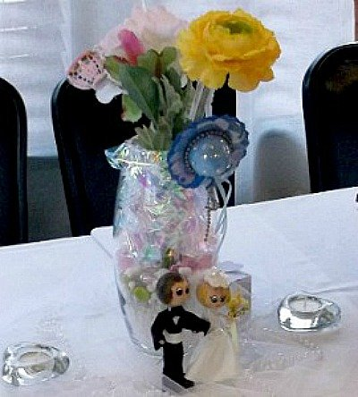 Madi was so happy with her bridal shower. The little bride and groom in the picture above were made using wooden clothes pins.