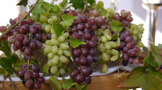 Ripped White and Red Grapes.