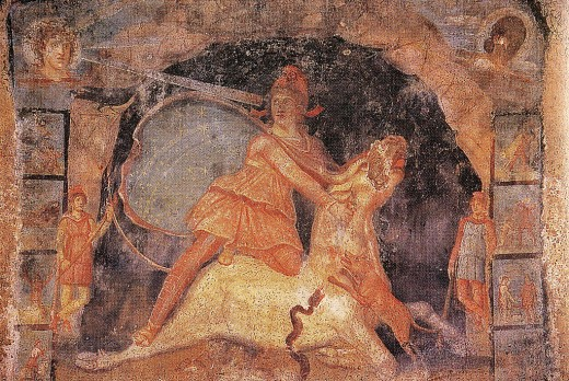 Ancient Fresco showing a bull fight