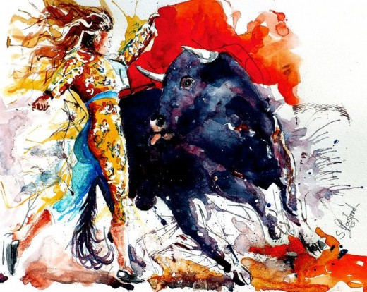 Female bullfighting painting