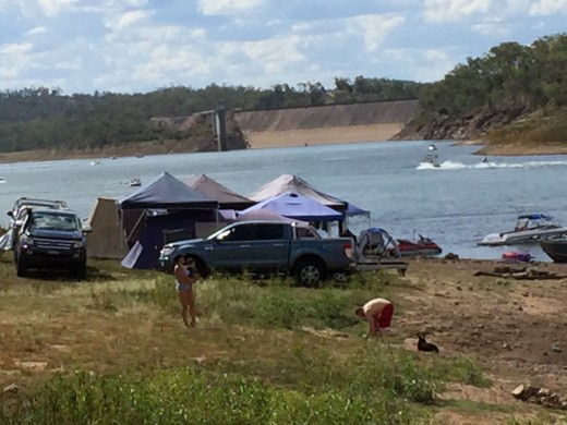 Swimming and water sport area, Lake Boondooma. Note dam wall at back of picture.