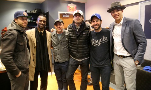 Jon Glaser, Andrew McCutchen,  Joe Lo Truglio, Jon Hamm, Paul Rudd  and Carlos Correa at WorldSeries  Game 3 of World Series