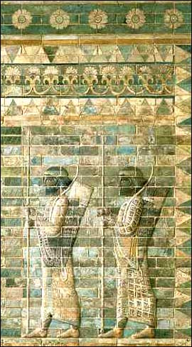 An ancient Babylonian relief showing archers.
