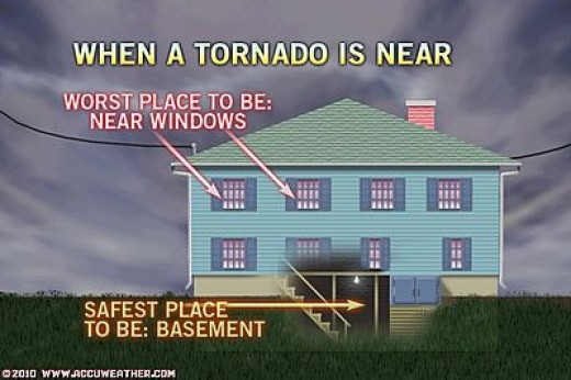In lieu of a tornado shelter, a basement is the next best place to be during a tornado.