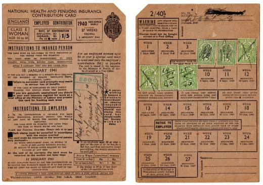 A 1940's British National Insurance card (from before the days of computers.) Each stamp on the card is proof of a week's paid NI contribution.