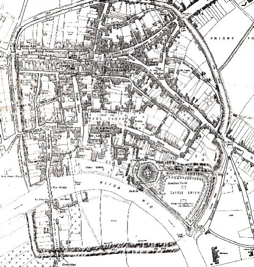 The Mediaeval city of Hereford - its castle overlooked the River Wye on a wide bend