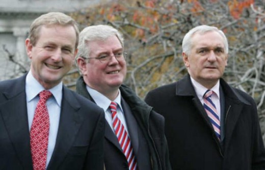 Enda Kenny, Eamon Gilmore and Berti Ahern leaders of the three main Irish political parties.