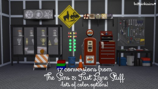 brittpinkiesims also does conversions from TS2 and TS3.  This set is a bunch of objects from TS3 Fast Lane Stuff Set.