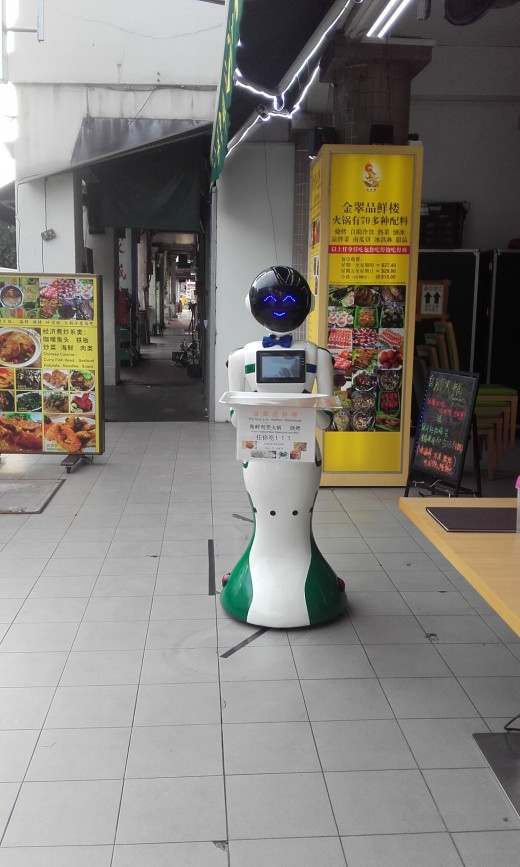 Robot in front of a restaurant in Singapore