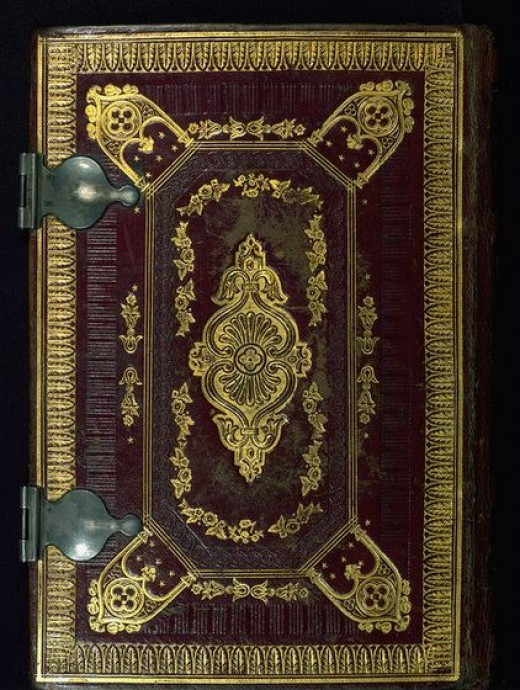 Rebound in the nineteenth century  with reddish brown morocco; stamped with gold; inner-board edges decorated with gilded tulip and bud motif
