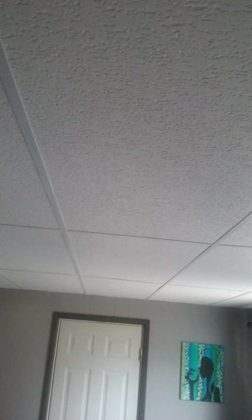 Ceiling tiles after in installation.