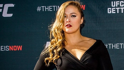 Rousey at a press conference announcing her role in an upcoming action movie
