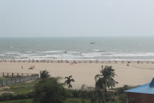 A part of the beach viewed from a beach side hotel