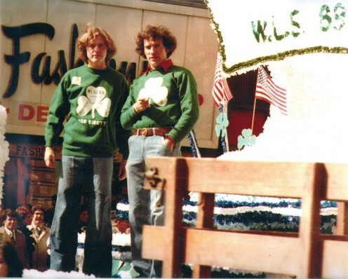 St. Patricks Day 1976  Bob Sirott, left, and John Records Landecker