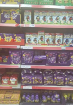 Chocolate Easter Eggs are back in the shops. Easter is just around the corner. A great range in all the stores. My favourite is the chocolate buttons.