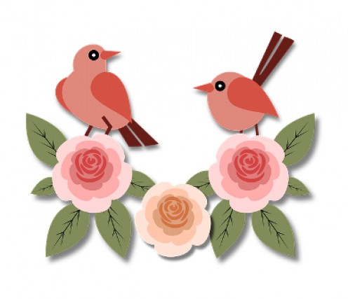 Sweet birds add charm perched on top of roses.