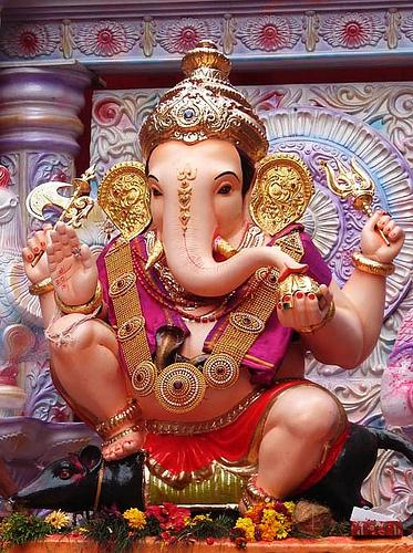 Ganesha is the elephant god of the Hindu religion and brings wealth and fortune to his followers.