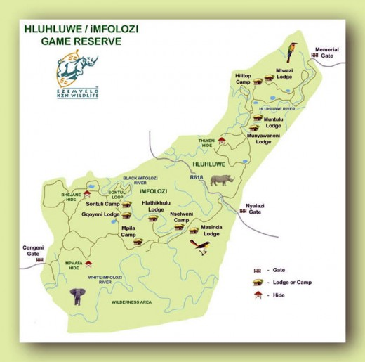Map of the national park showing the two parts: Hluhluwe in the north and Imfolozi in the south. Map courtesy Ezemvelo KZN Wildlife