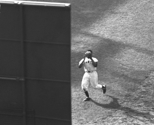 A rare opposite angle. Willie Mays is about to become immortal in baseball history.