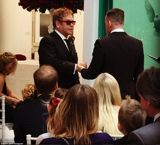 Elton and David's wedding