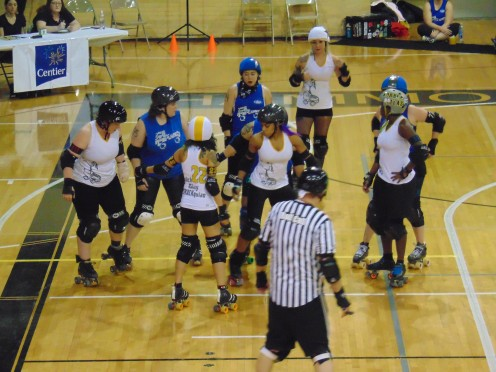The Chicago Outfit (white) vs. The South Shore Roller Girls (blue) at the Hammond Civic Center located at 5825 S Sohl Avenue in Hammond, Indiana.