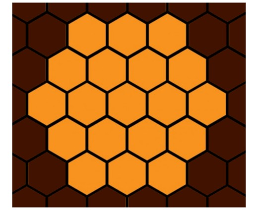 Cindy's and Lindy's honeycomb game board with 19 cells.