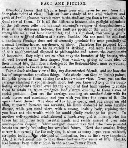 Sample of Fanny Fern's 19th century American newspaper articles.