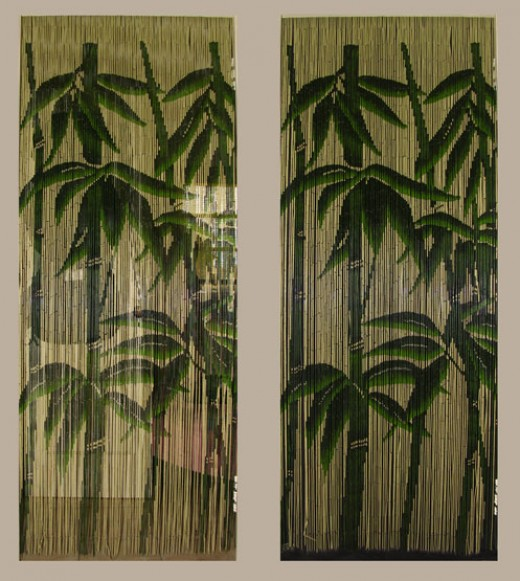 Fiona Leaf+Bamboo Print Thermals Curtains