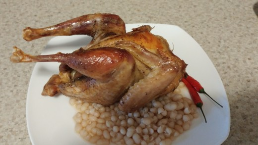 Boil or roast chicken.  Serve cold with carrots and beans salads.