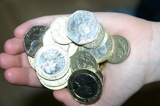 A real handful of £2, £1 and 50p coins