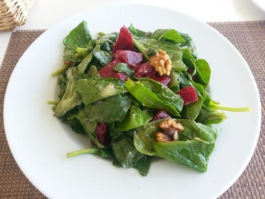 Walnuts and beets bring variety to salad greens